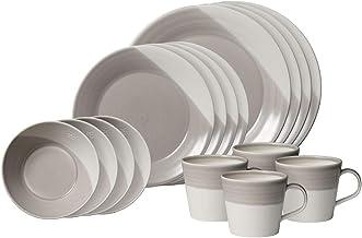 Royal Doulton Bowls of Plenty 40036123 16 Pc Dinnerware Set Dark Grey, Porcelain