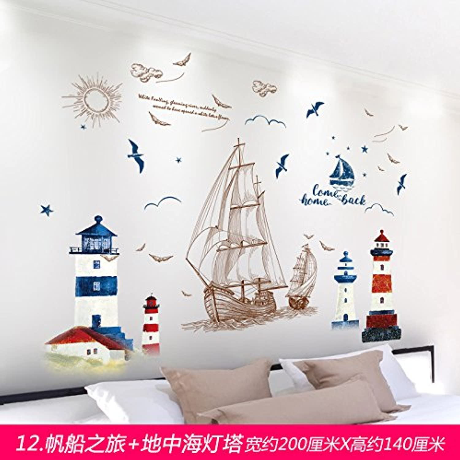 Znzbzt 3D Wall Mount Pleasant Creative Wall Sticker Art Bedroom Wallpaper self Adhesive Wall Decor Wall Decals, Sailing