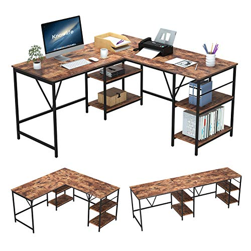L-Shaped Desk 59 inch, Convertible Long Desk Home Office Corner Desk 94.5 inch, with 2 Storage Shelves, Rustic Brown