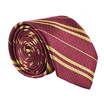 Besmon Striped Tie For Cosplay Magic Costume Halloween Christmas Party,As a Gift For Daily Use  Red+Gold