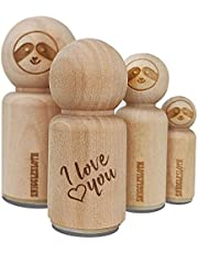 I Love You in English Heart Rubber Stamp for Stamping Crafting Planners - 1/2 Inch Mini