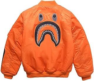 QYS Men's Patch Bape Shark Cotton Flight Baseball Jacket Outwear,Orange,M