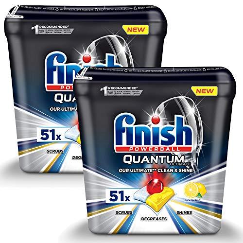 Spülmaschinentabs Finish Quantum Ultimate Lemon 102 Stück - Powerball - Kraftvolle Reinigung, Fettlösekraft und Glanz - Finish Tabs 102 Stück