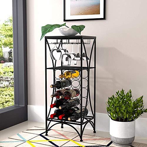 Mazu Homee Estante de metal para vino, puede acomodar un depósito separado de 15 botellas de vino, soporte de exhibición invertido para taza alta, color negro