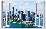New York NY USA City Skyline Stadt Wandtattoo Wandsticker Wandaufkleber F0430 Größe 60 cm x 90 cm