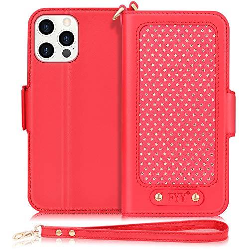 """FYY Etui Coque iPhone 12 Pro Max, [Fonction de Support] Étui Portefeuille de Luxe en Cuir PU, Housse Rabattable avec [Fentes pour Cartes] pour Apple iPhone 12 Pro Max 6.7"""" 2020 Rouge"""