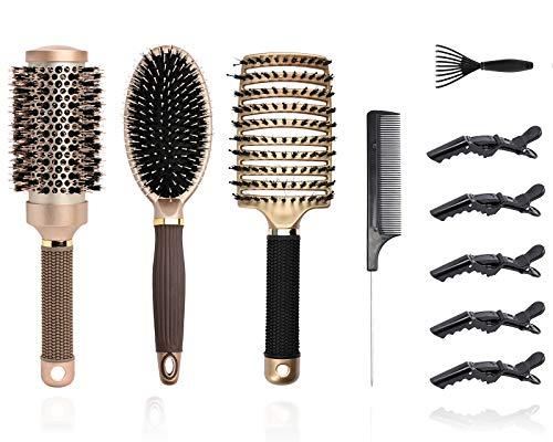 YMHPRIDE Ensemble de 10 brosses à cheveux en poils de sanglier,Brosse à cheveux ronde Brosse à cheveux démêlante ventilée Peigne ovale de massage antistatique Brosse à palette pour brushing humide