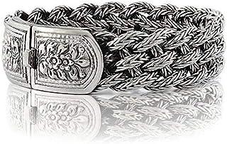 925 Sterling Silver Victorian Flowers Men Bracelet - Made in Thailand