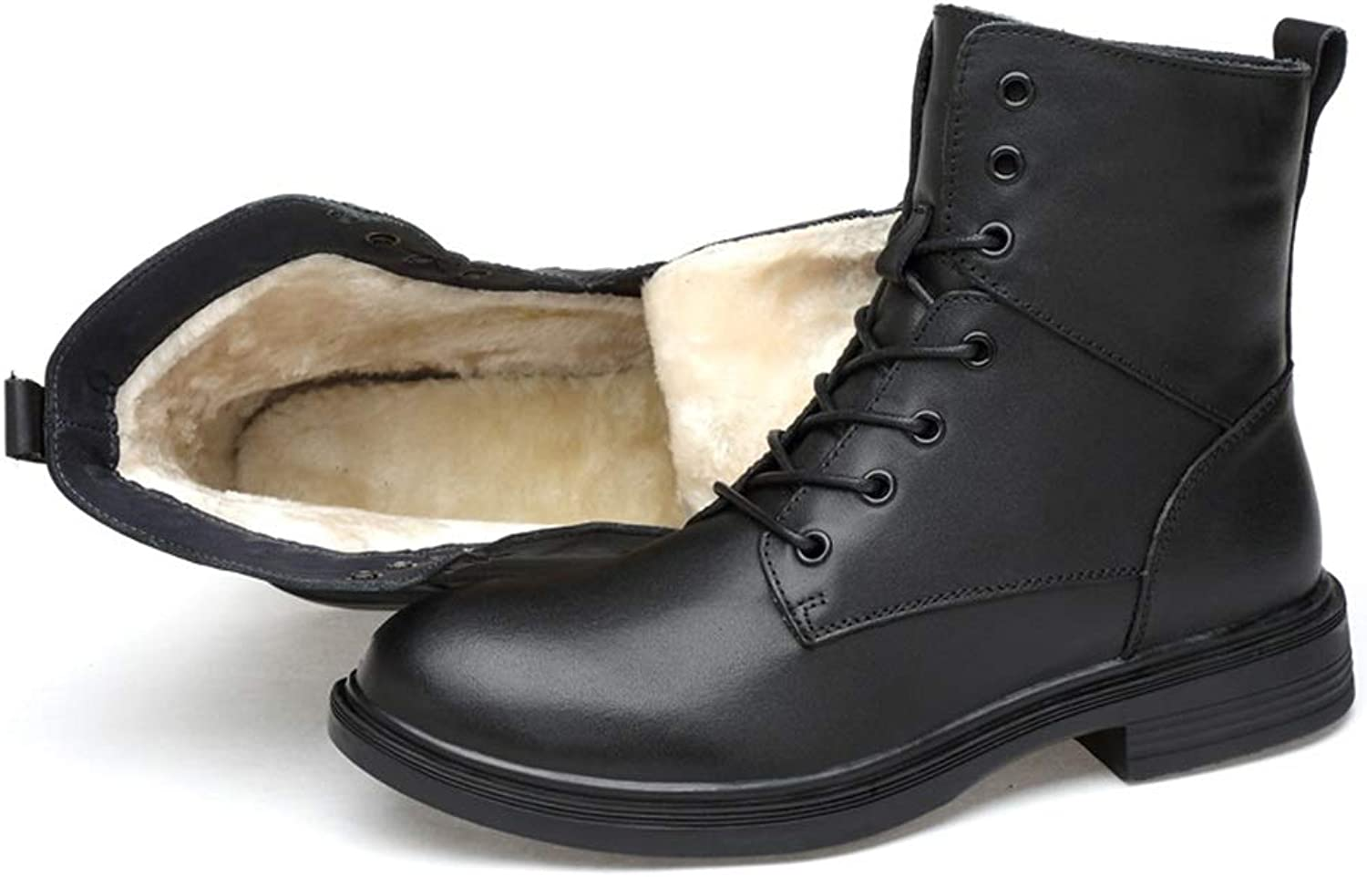 Men's Mid-Calf Boots Casual and Simple Classic High-top Anti-Skid Waterproof Martin Biker Boots (Warm Velvet Optional) for Men
