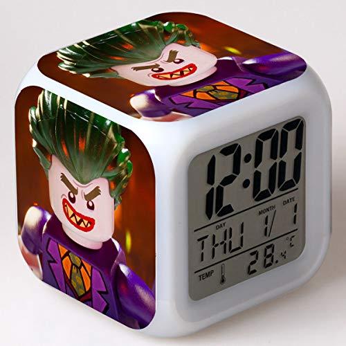 Lindo héroe Despertador digital, Despertador infantil, Luz de noche LED de 7 colores, Reloj despertador para niños, Cumpleaños infantil/Navidad El mejor regalo(8 * 8 * 8cm) 24