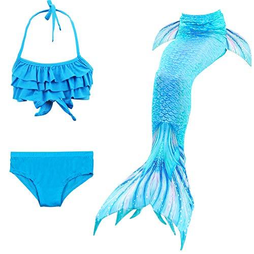 X-Labor Mädchen Cosplay Kostüm Meerjungfrauenschwanz zum Schwimmen 3pcs Bikini Sets Kinder Prinzessin Badeanzug Schwimmanzug blau 150cm