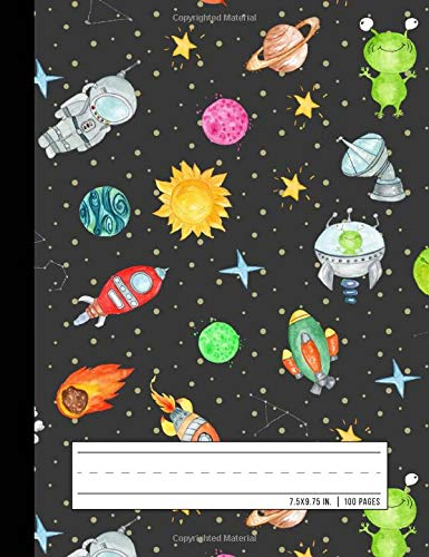 Primary Composition Notebook: Grades K-2 School Exercise Book   Story Picture Space with Dotted Midline   Galaxy Rocket (Space Astronaut Journals)