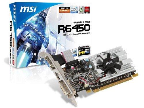 MSI R6450-MD1GD3/LP AMD Radeon HD6450 1GB - Tarjeta gráfica (Activo, AMD, Radeon HD6450, GDDR3, PCI Express 2.1, 2560 x 1600 Pixeles)
