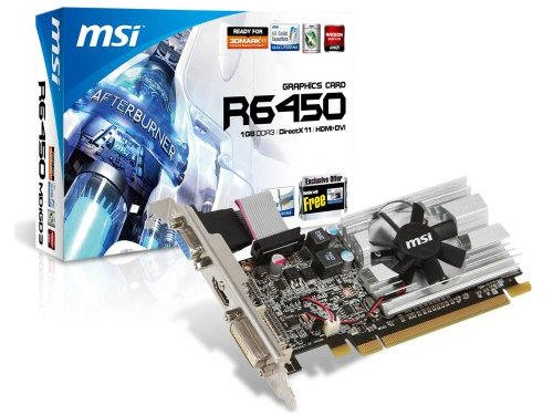 MSI R6450-MD1GD3/LP AMD Radeon HD6450 1GB - Tarjeta gráfica (Activo, AMD, Radeon HD6450, GDDR3, PCI Express 2.1, 2560 x 1600 Pixeles)