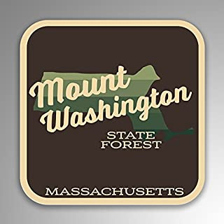 JMM Industries Mount Washington State Forest Massachusetts Vinyl Decal Sticker Retro Vintage Look 2-Pack 4-inches by 4-inches Premium Quality UV Protective Laminate SPS240