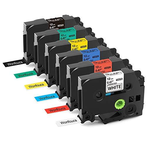 Nastro per Etichette Wonfoucs Compatibile In sostituzione di Brother Tape 12mm x 8m Usato per PT-H105 PT-H100 PT-1005 PT-1000 PT-1010 PT-1080(Nero su Bianco/rosso/blu/giallo/verde, Bianco su nero)