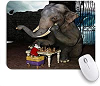 ECOMAOMI 可愛いマウスパッド 面白い動物の象とマウスのチェスをする 滑り止めゴムバッキングマウスパッドノートブックコンピュータマウスマット