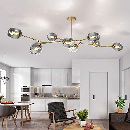 LUOLAX Modern Pendant Light Glass Chandelier with 8 Lights Fixture Hanging Semi Flush Mount(8 Heads Gold-Gradient Gray)
