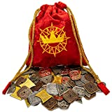 King's Coffers: 5e Compatible Roleplaying Coins & Pouch - 60 Metal Pieces, 5 Denominations - Tabletop RPG & Strategy Board Game Fantasy D&D Currency & Treasure for GMS & Players - TTRPG Accessories