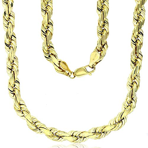 "14K Yellow Gold Solid 8mm Diamond Cut Rope Chain with Lobster Claw Clasp | 30"" Necklace Chain 