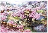 Mini Puzzles de 1000 Piezas en Miniatura DIYpara Adultos Sakura Villa de Madera Resistente Desafío del Ejercicio Cerebral Juego de Alta dificultad Regalo para Niños 52 * 38cm