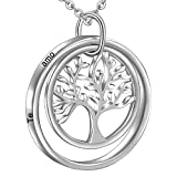 LOVORDS Collar Mujer Grabado Plata de Ley 925 Colgante Árbol de la Vida Familiar Círculo Regalo Amor Esposa Novia