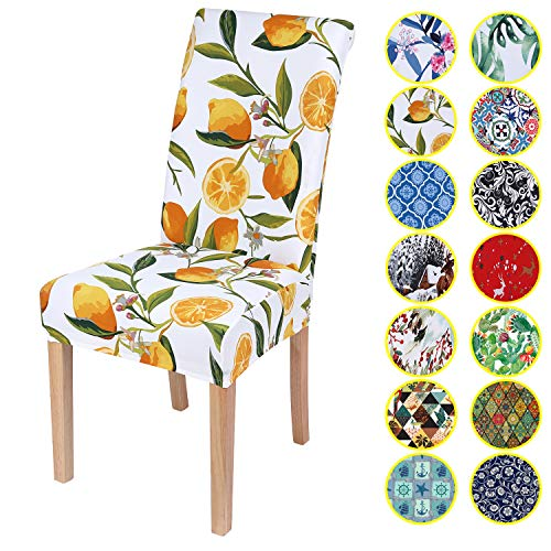 Mejor subrtex Printed Dining Chair Slipcovers Stretch Removable Washable Elastic Parsons Chair Seat Covers for Dining Room Kitchen (2,Light Yellow) crítica 2020