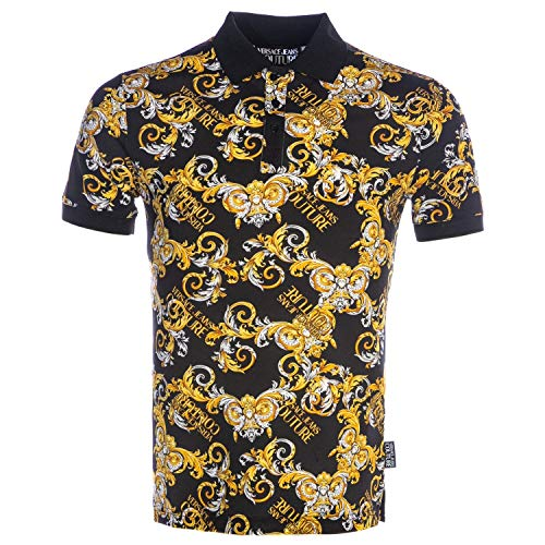 VERSACE JEANS COUTURE All Over Baroque Print Polo Shirt in Black