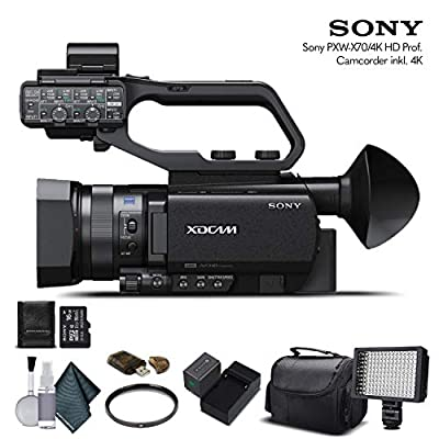 Sony PXW-X70 4K Professional XDCAM Compact Camcorder (PXW-X704K) with 16GB Memory Card, Extra Battery and Charger, UV Filter, LED Light, Case and More. - Starter Bundle by Mad Cameras