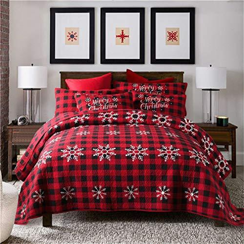 ADGAI 2019 Weihnachten Tagesdecke Gesteppte King Size Festival aus weicher Baumwolle Dekor rot Weihnachten Thema Schneeflocke Muster gestickte Quilten Bettdecken mit 2 Kissenbezügen,251x269cm