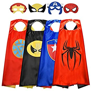 Roko Toys for 3-10 Year Old Boys Superhero Capes for Kids 3-10 Year Old Boy Gifts Boys Cartoon Dress up Costumes Party Supplies 4 Pack RKUSPF04 Medium  Smart-S3