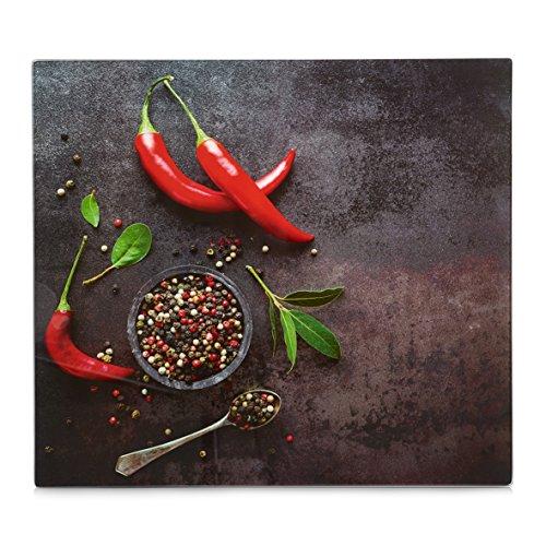 XL Glas Herdabdeckplatte Herdabdeckung Schneidebrett Abdeckplatte für Ceranfeld Design Hot Chili Kochfeld Abdeckung Spritzschutz Herdblende