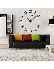 ساعة جدارية حائطة كبيرة ملصقات ثلاثية الأبعاد أسود