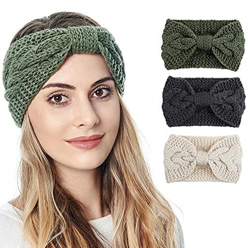 3er Pack Gestrickte Stirnbänder Winter Stirnband Ohr Warme elastische Häkelkopfwickel für Frauen Mädchen (Set-D-1014)