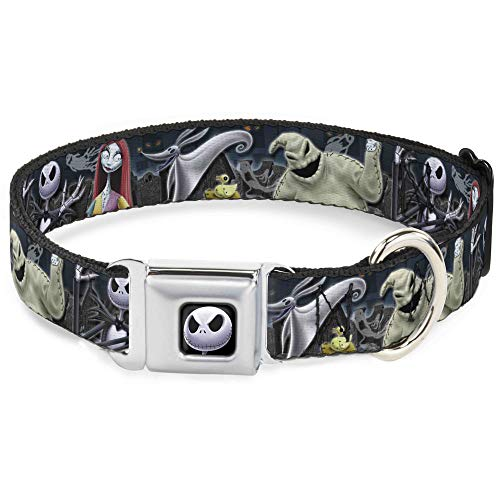 Dog Collar Seatbelt Buckle Nightmare Before Christmas 4 Character Group Cemetery Scene 15 to 26 Inches 1.0 Inch Wide