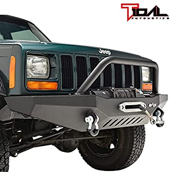 Tidal Front Bumper with Winch Plate and Hoop Fits for 84-01 Cherokee XJ/Comanche MJ
