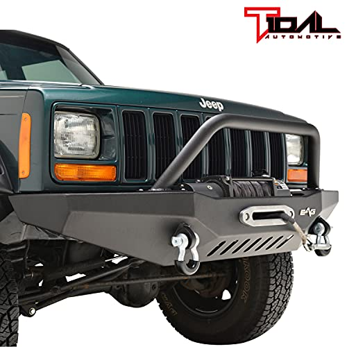 Tidal Front Bumper with Winch Plate and Hoop Fits for 84-01 Cherokee XJ Comanche MJ
