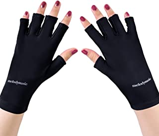 MelodySusie UV Shield Glove Gel Manicures Fingerless Anti UV Glove, Protect Hands from UV Light with LED UV Gel Polish Drying Lamp, Classic Black
