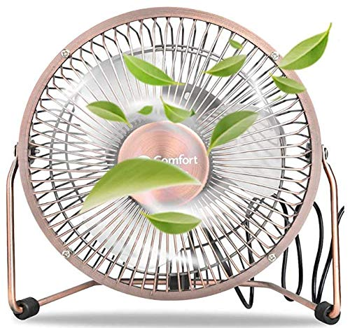BOVADO USA 6 inch 2 in 1 Small Desk Fan/USB Desk Fan - Quiet, Dual Powered, Light-Weight, All-Metal Construction for Home, Office, Work and Personal Use By ComfortZone