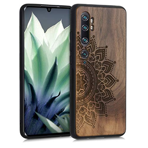kwmobile Hülle kompatibel mit Xiaomi Mi Note 10 / Note 10 Pro - Handyhülle Holz TPU Cover - Aufgehende Sonne Dunkelbraun