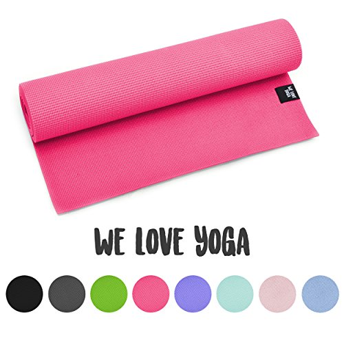 zenpower Yogamatte - We Love Yoga - 180cm, 6mm dick - rutschfest & leicht, Pink