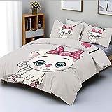 Juego de funda nórdica, lindo dibujo animado doméstico gato blanco mejillas...