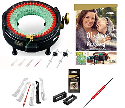 addi Express King Size Knitting Machine Kit Extended Version with Manual Counter Includes: 46 Needles, Knitting Machine, Pattern Book, Express Hook, Replacement Needles, Stopper