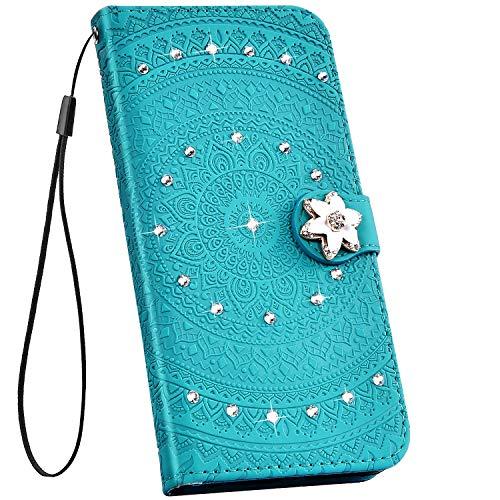 Ysimee Hülle kompatibel mit iPhone 6 6S, Glitzer Handyhülle PU Ledertasche Kartenfach Wallet mit Handschlaufe Eingelegten Diamond Strass Bing Schutzhülle Ständer Funktion Flip Cover, Diamant Grün