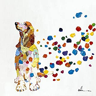 Beagle Spots in The Wind Wall Art Modern Printing On Canvas Painting with Hand Embellished Home Decor 28