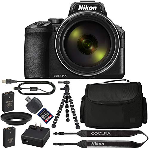 Nikon COOLPIX P950 Digital Camera: with 83x Optical Zoom, 4K and Built-in Wi-Fi (Black) + 128GB 1200X SDXC Card + 2 EN-EL20 Batteries + Case + Flexible Tripod + Pro Bundle: International Version