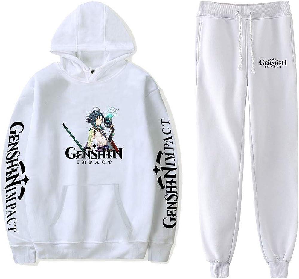 WAWNI Game Genshin Impact Hoodies Pants Two-Piece Sweatshirt Suit