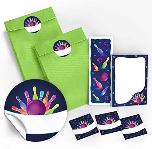 12 Geschenktüten / grün + 12 Aufkleber + 12 Lesezeichen + 12 Mini-Notizblöcke Bowling neon / Mitgebsel Gastgeschenk für Kinder Jungen Mädchen beim Kindergeburtstag Geburtstag