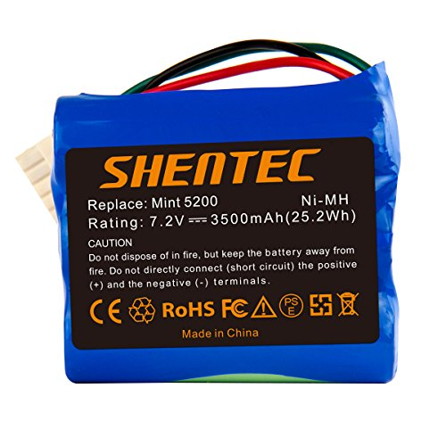 Shentec 7.2V 3500mAh Ni-MH Akku Ersatzakku für iRobot Braava 380 380T 390 390T Mint 5200 5200B 5200C