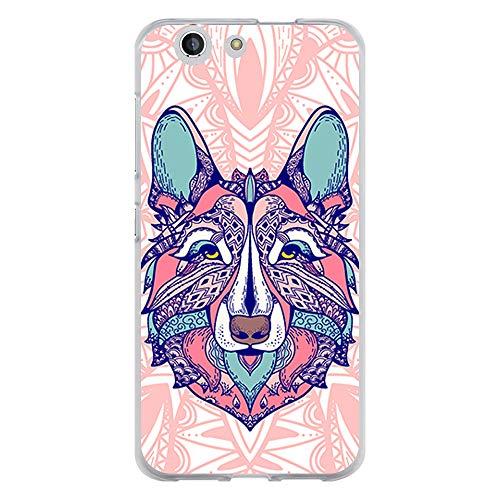 BJJ SHOP Transparent Hülle für [ ZTE Blade A512 ], Flexible Silikonhülle, Design: Ethnischer Wolf mit Mandala